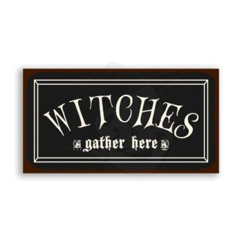 Witches Gather Here Vintage Metal Art Retro Tin Halloween Sign