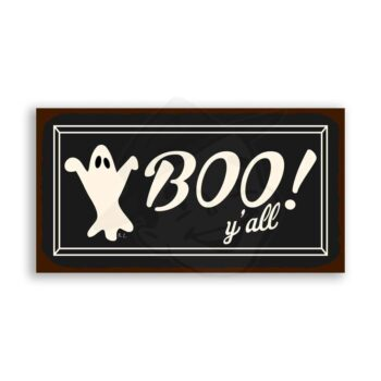 Boo Y'all Vintage Metal Art Retro Tin Halloween Sign