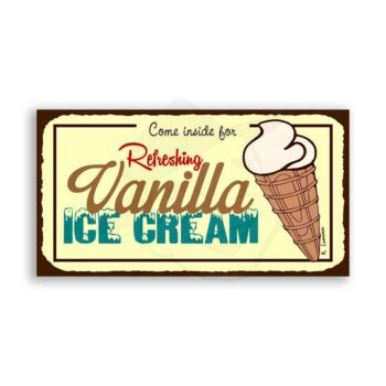 Come Inside For Refreshing Vanilla Ice Cream Vintage Metal Art Retro Tin Sign