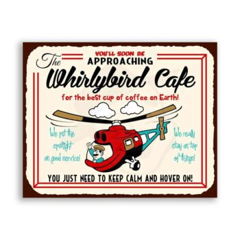 Whirlybird Cafe Vintage Metal Art Retro Helicopter Tin Sign