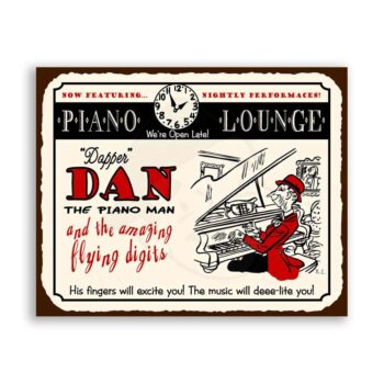 Dapper Dan The Piano Man Music Vintage Metal Art Retro Tin Sign